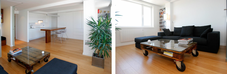 Reforma interior de vivienda en plaza de espa a a coru a for Cocina americana y salon