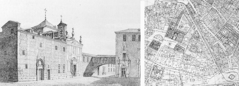 Grabado plaza de las Descalzas-Casa Capellanes-Casa María de Pisa- Monte de Piedad-Antiguo  Madrid-Madrid 1