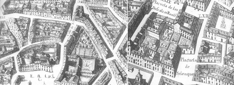 Plano de Madrid-Plaza de las Descalzas-Plano antiguo-Madrid 1656