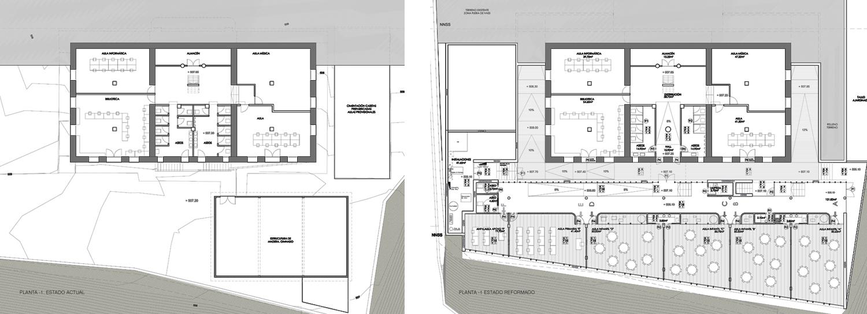 Ampliaci n de edificio modernista para aulario d az for Plano escuela infantil